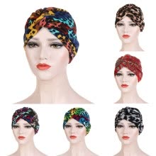 headband-Women Leopard Printed India Hat Muslim Ruffle Cancer Chemo Hat Beanie Wrap Cap on JD
