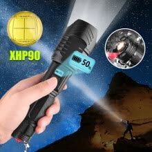 lights-lanterns-XHP90 LED Flashlight Torch Light Rechargeable 18650 Lamp Ultra Bright LCD Design on JD