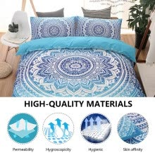 -ODOMY Blue Fashion Double Bed Size European Style Bedding Set Bedclothes Comforter/Duvet/Quilt Cover Sheet Pillowcase Bed Sets on JD