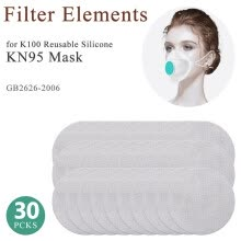 -30Pcs Filter Elements For K100 Reusable SIlicone Mask on JD