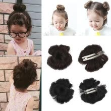 -2 Pcs Sweet Baby Girl Curl Natural Hairpiece Clip Wig Hair Ring Bun on JD