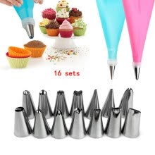 -16Pcs Pastry Nozzles and Coupler Icing Piping Tips Sets Stainless Steel Rose Cream Bakeware Cake KitchenTool on JD