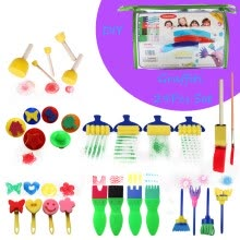 -29 PCS  Creative Set Kids Early Learning Sponge Painting DIY Graffit Brushes Set on JD