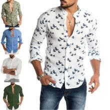 -Fashion Men's Casual V-neck Shirt Button Down Slim Fit Long Sleeve Formal Shirts on JD