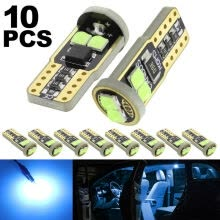 -​10pcs T10 LED 6SMD W5W Car Wedge Side Light Ice Blue Dome Reading Lamp Bulb on JD