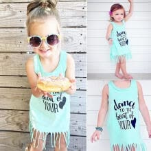 -Kid Girl Dress Sleeveless Baby Girls  Holiday Beach Tassels Cotton Vest Dress Age For 18 M-6 Y on JD