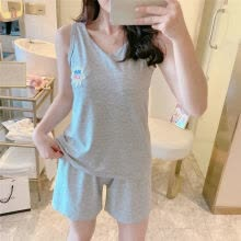 -Summer Pajamas Set Milk Silk Embroidered Letter Shorts 2 Pcs Sleepwear Suit Women Thin Loose Home Wear on JD