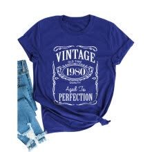 -Women Vintage Old Time 1980 Quality Aged to Perfection Classic T-Shirts on JD