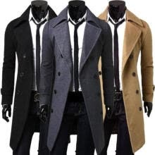 -Hot Men's Trench Coat Winter Long Jacket Double Breasted Overcoat on JD