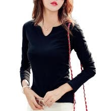 -Women T-Shirt Long Sleeve Solid V-Neck Slim Fit Spring Tops (Black XL) on JD