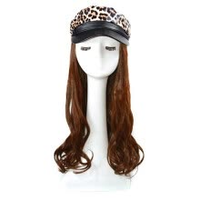 -Women One-Piece Wig Leopard Navy Cap Hat With Long Curly Big Wave Wigs on JD