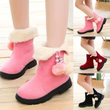 -Children Kids Baby Girls Winter Warm Solid Hairball Snow Short Boots Casaul Shoes on JD