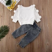 -2PCS Toddler Kids Baby Girls Sweater Tops Denim Pants Winter Outfits Clothes on JD