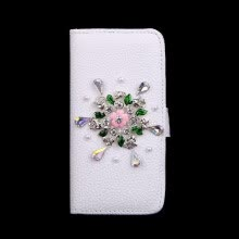 -Fashion Flip PU Leather Bling Flower Wallet Protective Case Cover with Card Holder for iPhone 6 Plus 6S Plus on JD