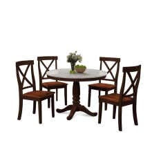 -ORIS FUR. 5 Pieces Dining Table and Chairs Set for 4 Persons, Kitchen Room Solid Wood Table with 4 Chairs on JD