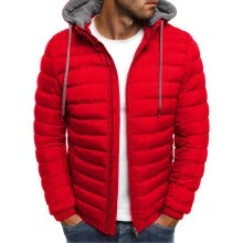 -Men's Hooded Down Jacket Winter Warm Hoodie Outwear Light Quality Packable Zipper Top Coat with Detachable Hat on JD