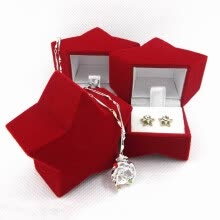 -Christmas Santa Claus Pentagram Shaped Gift Box Cute Ring Earring Necklace Jewelry Box Velvet Valentine Gift Box on JD