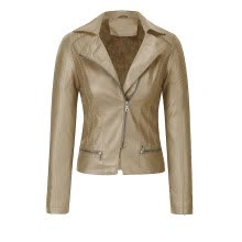 -Women Short Coat Faux Leather Jacket Zipper Overcoat Pocket Outwears on JD
