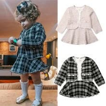 -Toddler Kid Baby Girls Autumn Winter Clothes Plaid Coat Tops+Tutu Dress Skirt Party Outfits 0-6Years on JD