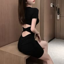 -Sexy Bodycon Bandage Backless Summer Dress Women Tight Ruched Short Party Club Dress Cut Out Mini T-Shirt Dress Black Grey on JD