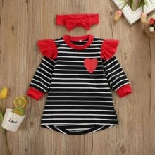 -Toddler Baby Girls Striped Tunic Shirts Dress Fall Long Sleeve Heart Print Party Princess Dresses Outfit with Headband on JD