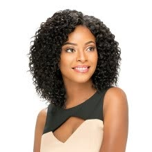 -Brazilian Virgin Afro Kinky Curly Short Bob Water Wave Black Lace Front Wig on JD