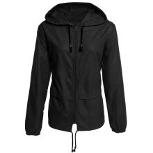 -Women Thin Section Waterproof Hooded Drawstring Outdoor Hiking Rain Jacket Jacket on JD