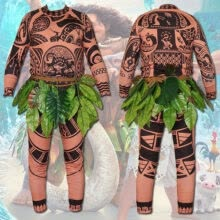 -Halloween Family Adult Mens Moana Maui Tattoo T Shirt Pants Grass Skirt Cosplay Costume Newest Hot Sale Summer masculino on JD