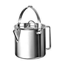 -1.2L Portable Outdoor Stainless Steel Kettles Boil Water Hanging Pot Hot Soup on JD