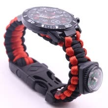 -Outdoor Survival Watch Bracelet Paracord Compass Flint Fire Starter Whistle NewG on JD