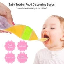 -1pc Useful Safety Silicone Baby Bottle With Spoon Food Supplement Rice Cereal Bottles Squeeze Spoon Milk Feeding Bottle Cup on JD