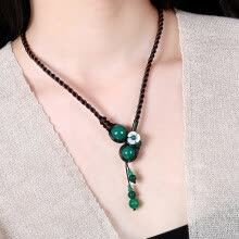 -Women short necklace ethnic style clavicle chain green agate pendant flower retro accessories on JD