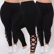 -Womens Black Leggings Plus Size Spandex Curvy Pants Solid New Soft on JD