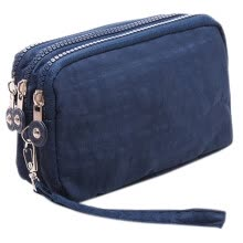 -Women's Solid Colour Zip Around Wallet and Phone Clutch 3-Layer Handbag Card Holder Organizer Color:Navy on JD