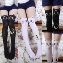 cooling-systems-Ladies Fancy Black White Stockings Cat Women Over the Knee Long Thigh High Cute Stockings on JD