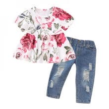 -Summer Girl Print T-shirt Set Fashion Print T-shirt + Hole Jeans Clothes Set Kids Clothes Girls Denim Pants on JD