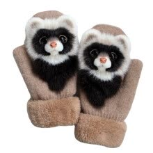 gloves-mittens-Female Knitted Gloves Women Cartoon Animal Gloves Mittens on JD