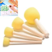 -4 Pcs/Set Kid Sponge Paint Brush Wooden Handle Children Painting Graffiti 4 Size on JD