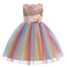 -Little Girls Sequin Sleeveless Mesh Rainbow Flower Dress Party Tutu Pageant Gown Dress on JD