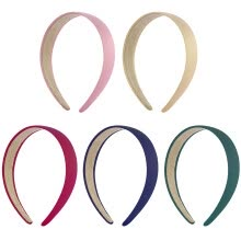 -5pcs Pure-Color 3cm Wide Hair Hoop Bands Headband Headpiece Hairdress for Hairstyle Khaki Pink Wine Red Navy Blue Blackish Green on JD