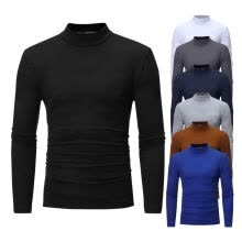 -Men's Turtleneck Casual Solid T-Shirt Long Sleeve T-Shirt Five Color Options L-3XL Size on JD