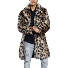 -TOYFUNNY Mens Leopard Warm Thick Fur Collar Coat Jacket Faux Fur Parka Outwear Cardigan on JD