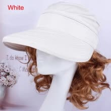 -Anti-Ultraviolet Large-Edge Beach Hat Visor/Packaged And Shipped-White/Bulk (The Actual Product Has Logo) on JD