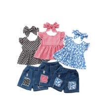 -Baby Girl Summer Outfits Tank Top T-Shirt and Shorts 2Pcs Clothes Sets on JD