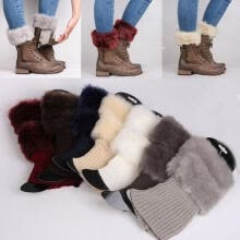 boys-sportswear-Women Winter Ankle Leg Warmers Crochet Knitted Fur Trim Boot Toppers Cuffs Socks on JD