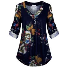 -Women Plus Size Long Sleeve Print V-neck Button Pullover Tops Shirt Navy XXXXL on JD