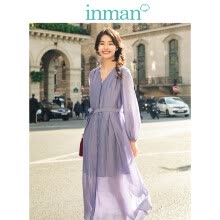-INMAN 2019 spring new V-neck retro literary belt with slim loose A word long-sleeved dress long skirt female 18911|04543 Lilac purple S on JD