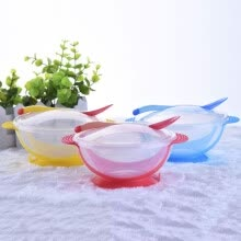 -Baby Feeding Training Bowl Temperature Sensing Spoon Suction Cup Tableware Set on JD