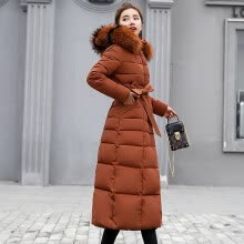 -Women's cotton coat women's winter Korean version of the long section over the knee color fur collar large size down cotton suit Slim cotton jacket on JD