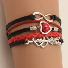 -Fashion Multi-layer Alloy Leather Heart-shaped Cupid Arrow Woven Bracelet for Women Jewelry on JD